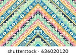 tribal design in zigzag stripes ... | Shutterstock .eps vector #636020120