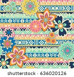 cute flowers over tribal... | Shutterstock .eps vector #636020126