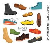 male man season shoes in flat... | Shutterstock .eps vector #636022484