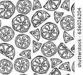 seamless pattern of citrus... | Shutterstock .eps vector #636026204