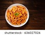 pasta with tomato sauce  | Shutterstock . vector #636027026