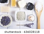 spa massage mud and clay powder ... | Shutterstock . vector #636028118