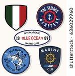 set of emblem  labels marine... | Shutterstock .eps vector #636029960
