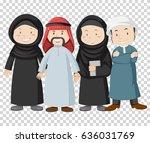 muslim people on transparent... | Shutterstock .eps vector #636031769