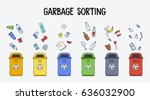 garbage sorting concept. trash... | Shutterstock .eps vector #636032900