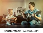 father teaching his son to play ... | Shutterstock . vector #636033884