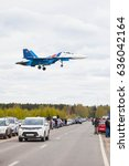 Small photo of MOSCOW, RUSSIA - MAY 9, 2017: military aircraft at Kubinka airfield, after the 9 may parade in Moscow