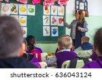 school children are... | Shutterstock . vector #636043124