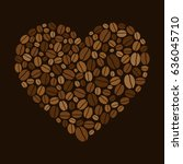 heart made of colored coffee... | Shutterstock . vector #636045710