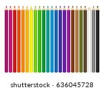 set of colored pencils on white ... | Shutterstock . vector #636045728