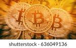 golden bitcoins heap.... | Shutterstock . vector #636049136