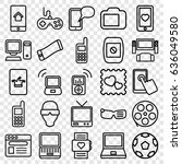 screen icons set. set of 25... | Shutterstock .eps vector #636049580