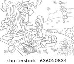 picnic in nature coloring book... | Shutterstock .eps vector #636050834