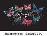 Stock vector beautiful butterflies t shirt composition embroidery and rhinestones fashion crystal patch design 636051380