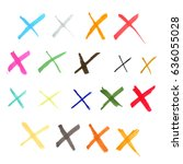 set of hand drawn with marker... | Shutterstock . vector #636055028