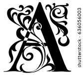 capital letter a. large letter. ... | Shutterstock .eps vector #636056003