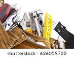 industrial tool belt with tools ... | Shutterstock . vector #636059720