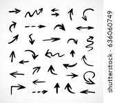 hand drawn arrows  vector set | Shutterstock .eps vector #636060749