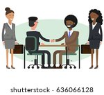 people at work with handshaking ... | Shutterstock .eps vector #636066128