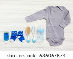 set of clothing and items for a ... | Shutterstock . vector #636067874