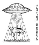 ufo kidnaps the cow engraving... | Shutterstock . vector #636071348