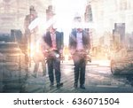 two businessman in the city.... | Shutterstock . vector #636071504
