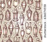 seamless pattern for ramadan... | Shutterstock .eps vector #636074558