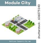 city quarter top view landscape ... | Shutterstock .eps vector #636075140