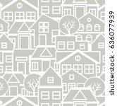 city pattern silhouette cut... | Shutterstock .eps vector #636077939