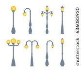 vector vintage streetlights on...   Shutterstock .eps vector #636083930
