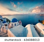 sunny morning view of santorini ... | Shutterstock . vector #636088013