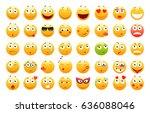 set of 3d cute emoticons. emoji ... | Shutterstock .eps vector #636088046
