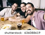 three young happy friends... | Shutterstock . vector #636088619