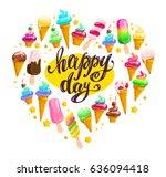 vector flat ice cream cones ...   Shutterstock .eps vector #636094418