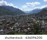 city sion in switzerland   Shutterstock . vector #636096200