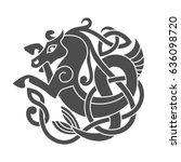 ancient celtic mythological... | Shutterstock .eps vector #636098720