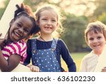 group of kindergarten kids... | Shutterstock . vector #636102230