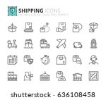 outline icons about shipping.... | Shutterstock .eps vector #636108458