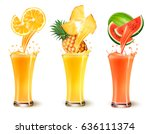 set of fruit juice splash in a... | Shutterstock .eps vector #636111374