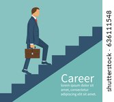 businessman is climbing career... | Shutterstock .eps vector #636111548