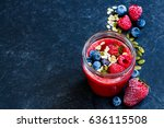 delicious berry detox smoothie... | Shutterstock . vector #636115508