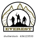 three climbers black and white... | Shutterstock .eps vector #636123533