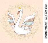 princess swan doodle vector...   Shutterstock .eps vector #636125150