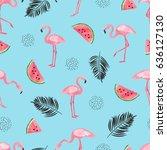 seamless tropical trendy... | Shutterstock .eps vector #636127130