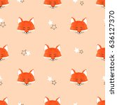 seamless cute foxes pattern....   Shutterstock .eps vector #636127370