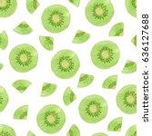 seamless vector watercolor kiwi ... | Shutterstock .eps vector #636127688