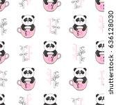 seamless cute panda bears...   Shutterstock .eps vector #636128030