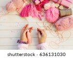 pink tassels. background of... | Shutterstock . vector #636131030