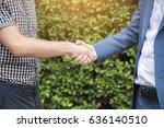 business handshake. two... | Shutterstock . vector #636140510