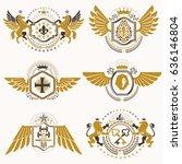 heraldic vector signs decorated ...   Shutterstock .eps vector #636146804